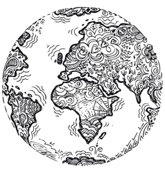 Planet earth sketched doodle vector image vector image