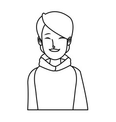 Portrait young woman wearing clothes warm winter vector