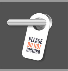 Realistic 3d detailed do not disturb sign and door vector
