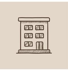 Residential building sketch icon vector
