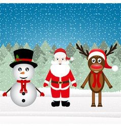 Santa claus a reindeer and a snowman vector