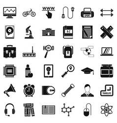 Seminar icons set simple style vector