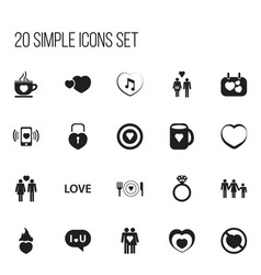 set of 20 editable heart icons includes symbols vector image vector image
