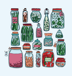 Set of pickled jars with vegetables fruits herbs vector