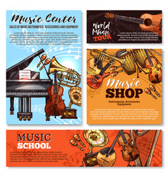 Sketch musical instruments shop posters vector