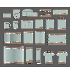 Stationery template design set with torn paper vector image vector image