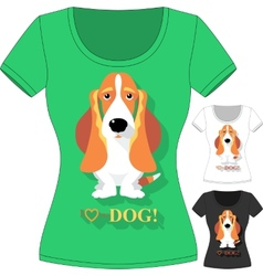 T-shirt with dog basset hound vector