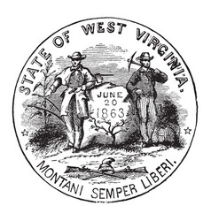 The official seal of the us state of west vector