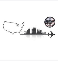 United states of america skyline buildings vector
