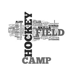 what to know about field hockey camp text word vector image vector image