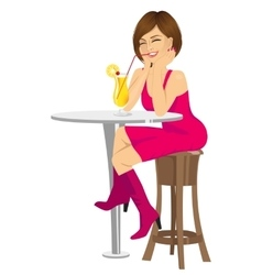 Woman drinking orange juice with straw vector