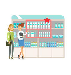 Woman in pharmacy choosing and buying drugs and vector