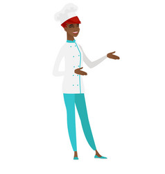 Young african-american happy chef cook gesturing vector