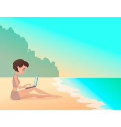 Young girl freelancer working outdoors on the vector