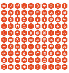 100 tourist attractions icons hexagon orange vector