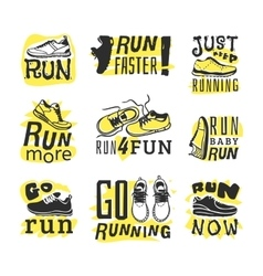 Run sport motivation set vector