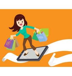 Woman shopping surf by phone vector
