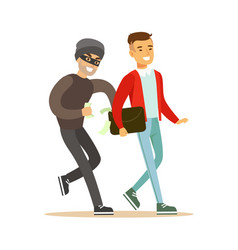 pickpocket trying to steal money from smiling man vector image