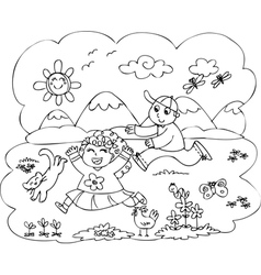 Children playing in countryside vector