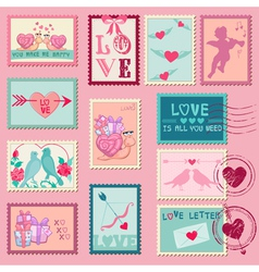 Love Stamps - for Wedding Valentines Day vector image