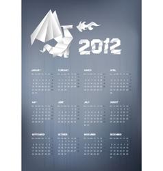 2012 origami dragon calendar vector image