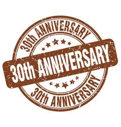 30th anniversary brown grunge stamp vector