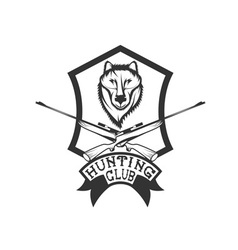 Hunting club crest with carbines and wolf vector