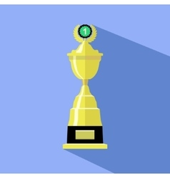 Trophy cup in flat style icon gold goblet vector