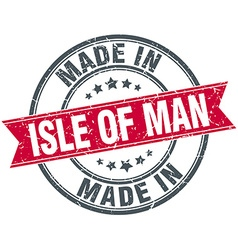 Made in isle of man red round vintage stamp vector