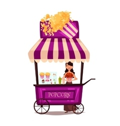 Selling popcorn on the street vector