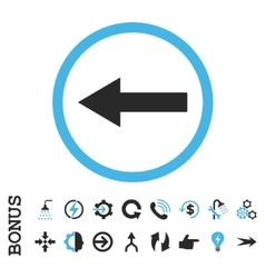 Left rounded arrow flat icon with bonus vector