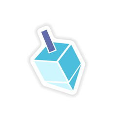 Paper sticker on white background jewish dreidel vector