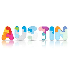 Austin written with alphabet puzzle vector