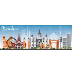 Barcelona Skyline with Color Buildings vector image