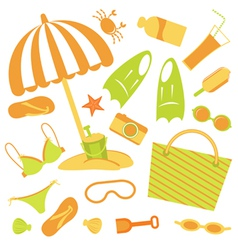 Beach set vector image vector image