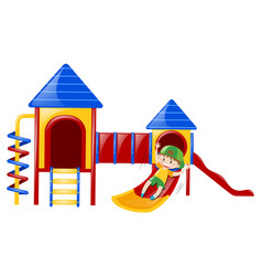 boy playing on slide by himself vector image vector image