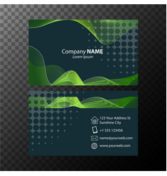 Businesscard template with green wavy lines vector