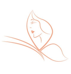Butterfly outline with woman face vector