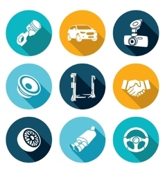 Car repairs and maintenance icons set vector