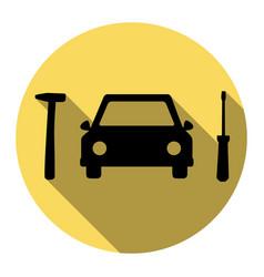 Car tire repair service sign flat black vector