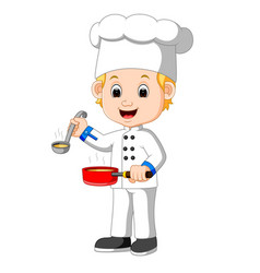 cartoon chef with a ladle vector image vector image