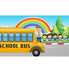 Children and school bus on the road vector image vector image