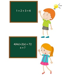 Children solving math problems vector