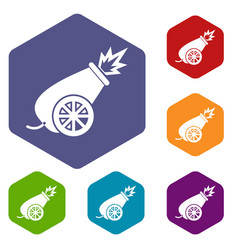 circus cannon icons set vector image