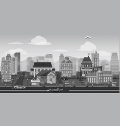 city background black and white landscape for game vector image vector image