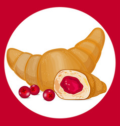 Croissant with cranberry icon vector