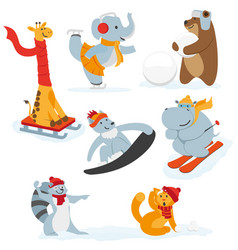 Cute animal characters doing winter activities vector