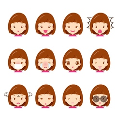 Cute girl emoticons set vector image