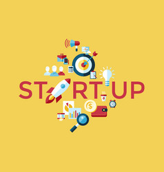 digital yellow startup vector image