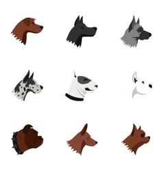 Dog icons set flat style vector